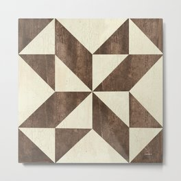 Brown and Cream Quilt Metal Print