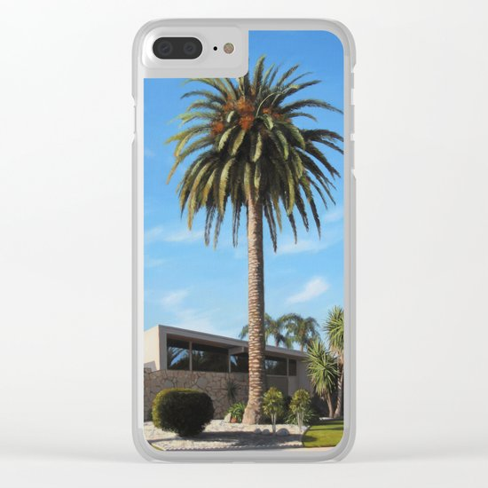 Krisel House With Queen Palm Clear iPhone Case