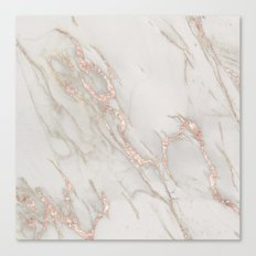 Marble Rose Gold Blush Pink Metallic by Nature Magick Canvas Print
