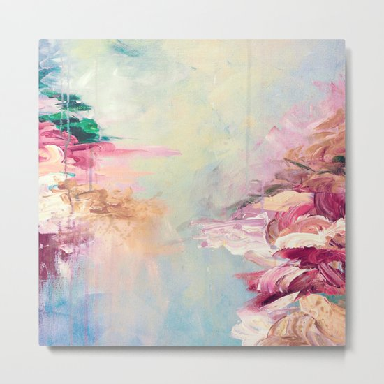 WINTER DREAMLAND 1 Colorful Pastel Aqua Marsala Burgundy Cream Nature Sea Abstract Acrylic Painting  Metal Print