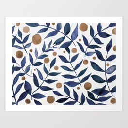 Watercolor berries and branches - indigo and beige Art Print