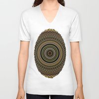 study V-neck T-shirts featuring Fractal Kaleido Study 001 in CMR by Charma Rose