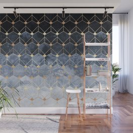 Blue Hexagons And Diamonds Wall Mural