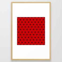 Cha Cha - Black Polka Dots in Red Framed Art Print