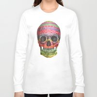 purple Long Sleeve T-shirts featuring Navajo Skull  by Terry Fan