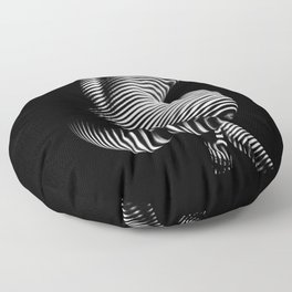 0727s-MM Black and White Striped Fine Art Nude Woman Back Bottom Butt Abstracted Floor Pillow
