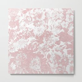 Girly trendy pink coral white lace floral Metal Print