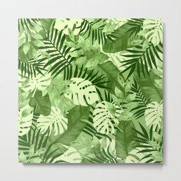Green Tropical Leaves Pattern Metal Print