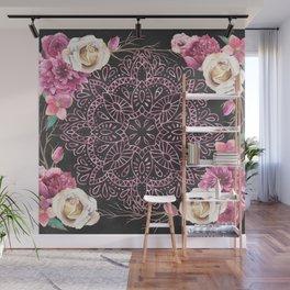 Mandala Night Rose Gold Garden Pink Black Yellow Wall Mural