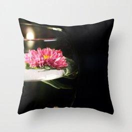 A Glass of Flower Throw Pillow