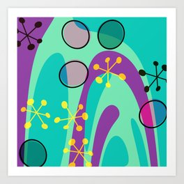 Nouveau Retro Graphic Teal Green Purple Yellow Art Print