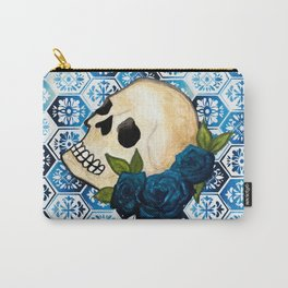 Watercolor Skull and Roses Tile Background Carry-All Pouch