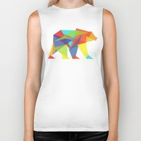 portrait Biker Tanks featuring Fractal Geometric bear by Picomodi