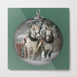 Christmas Horses Metal Print