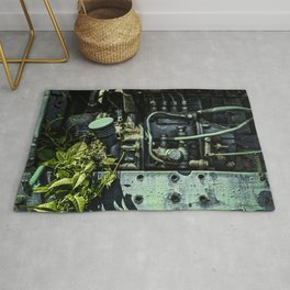 Old Tractor Weed Engine in Blue Rug