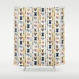 Dog Portraits Plaid Shower Curtain