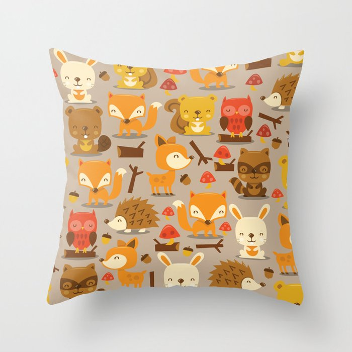 Super Cute Woodland Creatures Pattern Throw Pillow by totallyjamie Society6