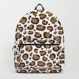 Gold Glitter Animal Print Pattern Backpack