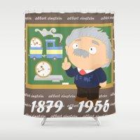 einstein Shower Curtains featuring Albert Einstein by Alapapaju