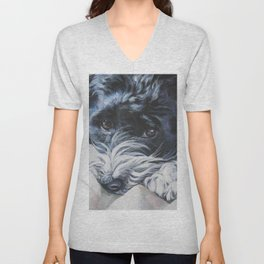 Havanese Dog Art Portrait from an original painting by L.A.Shepard Unisex V-Neck