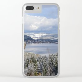first snow on autumn leaves Clear iPhone Case