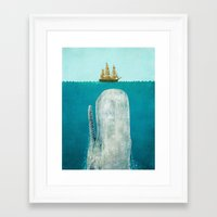 wall clock Framed Art Prints featuring The Whale  by Terry Fan