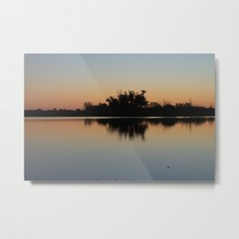 Reflections of plants in the calm waters of the lake Metal Print