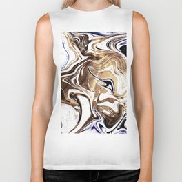 Metallic Gold Purple White Marble Swirl Biker Tank