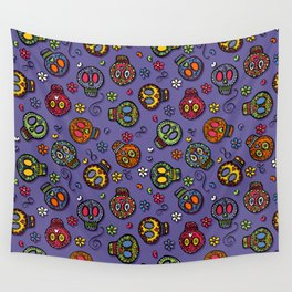Sugar Skulls (on purple) - calavera, skull,  halloween, illustration Wall Tapestry