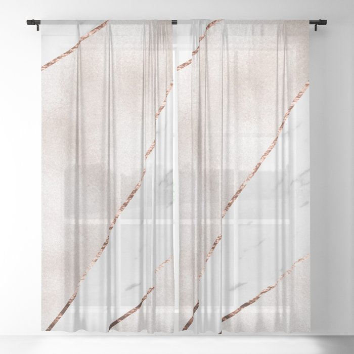 Spliced rose gold marble Sheer Curtain