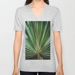 Aged & Colorized Wide Palm Leaves 2 Nature / Botanical Photograph Unisex V-Neck