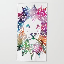 Rainbow Leo Beach Towel