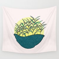 palm Wall Tapestries featuring palm by Aleksandra Salevic