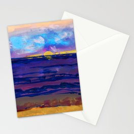 Large golden sunset, ocean, beach abstract Stationery Cards
