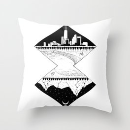 City by the Mountains Throw Pillow