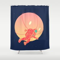 astronaut Shower Curtains featuring Astronaut by chyworks
