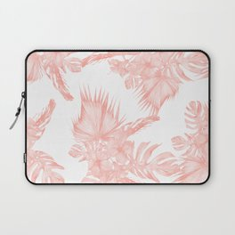 Tropical Hibiscus and Palm Leaves Coral White Laptop Sleeve