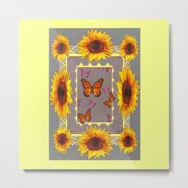 Southwestern Style Sunflowers Butterflies  Grey Ranch Design Metal Print