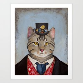 Sir Kitty Steampunk anthropomorphic Art Print