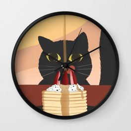 Carb Fiend aka Hungry Cat Eating Pancakes Wall Clock