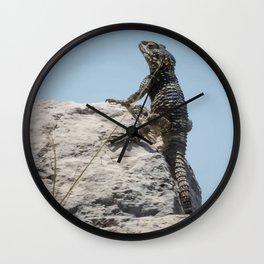 Lizard Sunbathing On A Rock Vector Wall Clock