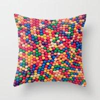 gumball Throw Pillows featuring Gumball Pop by WayfarerPrints