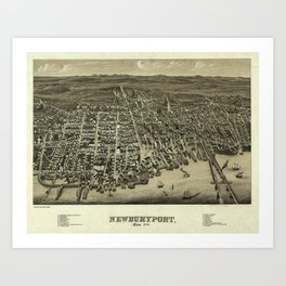 Vintage Pictorial Map of Newburyport MA (1880) Art Print