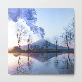 Mount Fuji Eruption-Mt. Fuji Japan-Abstract Japanese Nature Collage Metal Print