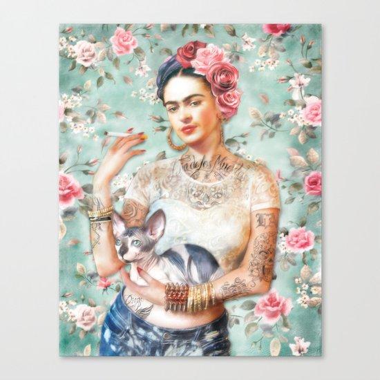 Frida's Exotic Cat Canvas Print