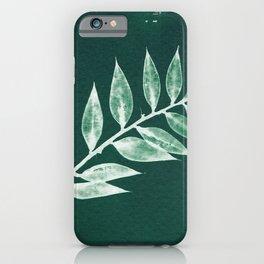 Minimal Ruscus green botanical fine art plant print / vintage cyanotype iPhone Case