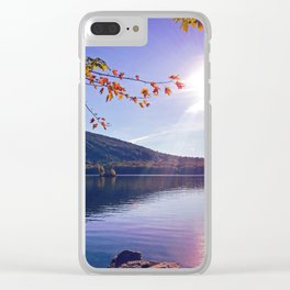 Fall Foliage at Moose Pond in Bridgton, Maine Clear iPhone Case