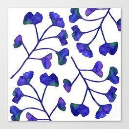 Ginkgo Leaves Watercolor Indigo on white Canvas Print