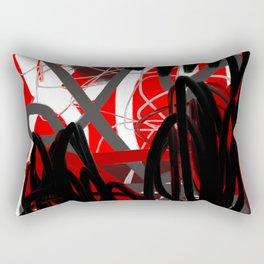 Red, Black & Gray Abstract Rectangular Pillow