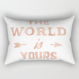 THE WORLD IS YOURS Rose Gold Pink on Black Rectangular Pillow